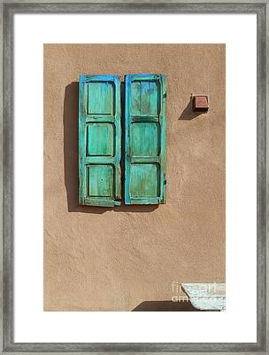 Shutter And Bench Framed Print by Ann Johndro-Collins