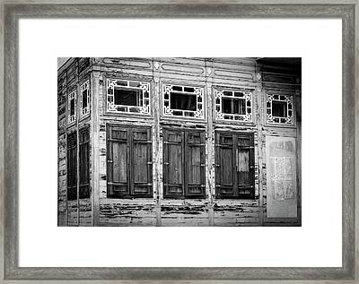 Shuttered And Peeling Palace Bw Framed Print
