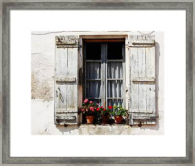 Shutters And Geraniums Framed Print