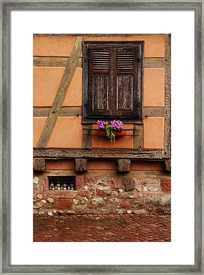 Shutters And Window Box In Kaysersberg Framed Print by Greg Matchick