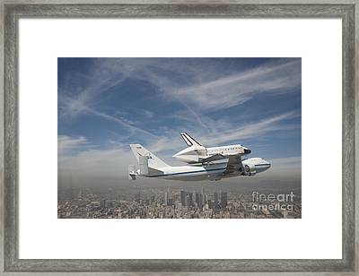Shuttle Flying Over The City Of Los Angeles Framed Print by Pd