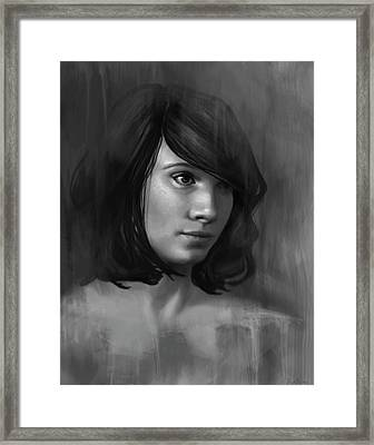 Shy - Black And White Framed Print by Angela Murdock