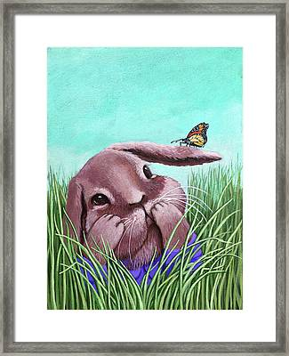Shy Bunny - Original Painting Framed Print
