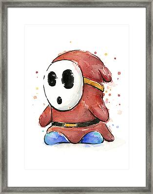 Shy Guy Watercolor Framed Print