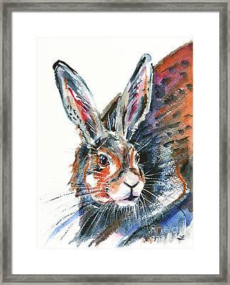 Framed Print featuring the painting Shy Hare by Zaira Dzhaubaeva