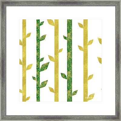 Siam, Abstract Bamboo Pattern, Gold Glitter, Dark Green Framed Print by Tina Lavoie