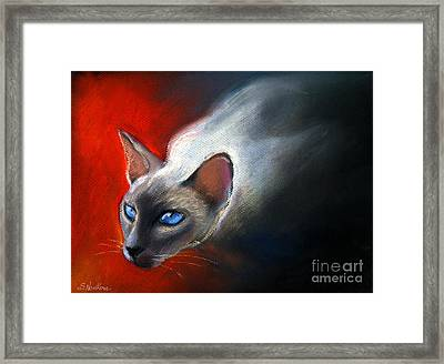 Siamese Cat 7 Painting Framed Print by Svetlana Novikova