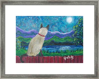 Siamese Cat In The Moonlight Framed Print by Paintings by Gretzky