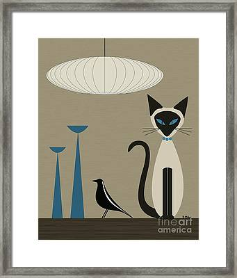 Siamese Cat With Eames House Bird Framed Print