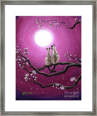 Siamese Cats In Spring Blossoms Framed Print by Laura Iverson
