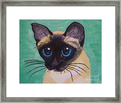 Framed Print featuring the painting Siamese by Leslie Allen