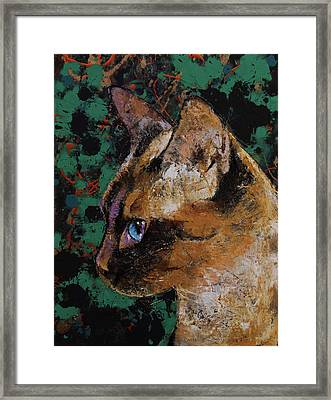 Siamese Portrait Framed Print by Michael Creese