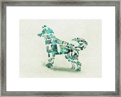 Framed Print featuring the painting Siberian Husky Watercolor Painting / Typographic Art by Inspirowl Design