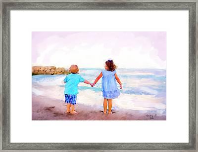 Sibling At Sunset Framed Print