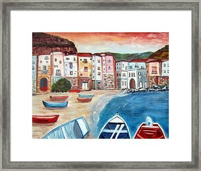 Sicilian Fishing Village Framed Print by Lia  Marsman