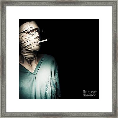 Sick Medical Patient With Temperature Thermometer Framed Print by Jorgo Photography - Wall Art Gallery