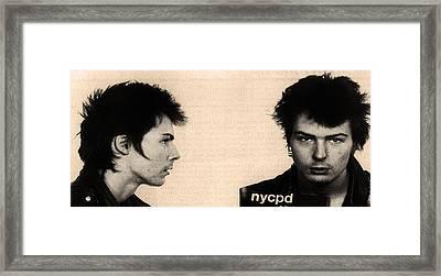 Sid Vicious Mugshot Framed Print by Bill Cannon
