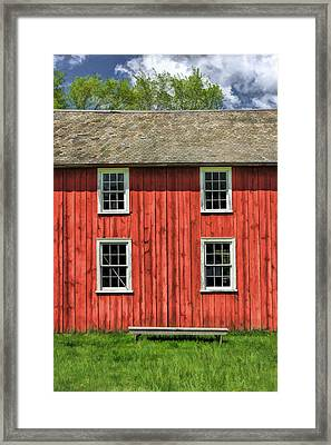 Side Of Barn And Windows At Old World Wisconsin Framed Print by Christopher Arndt