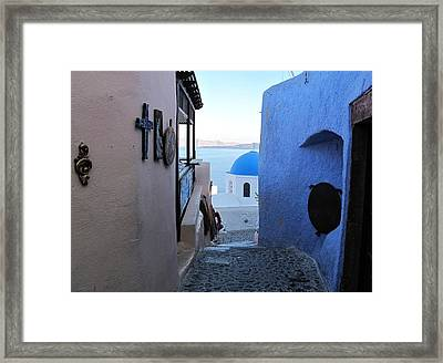 Side Street Santorini Framed Print by Martine Murphy