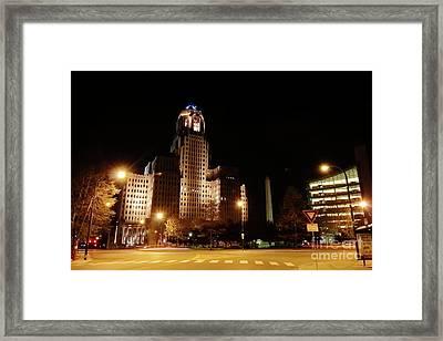 Side View Buffalo City Hall At Night Framed Print by Daniel J Ruggiero