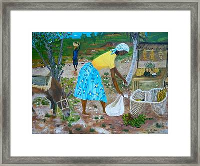Framed Print featuring the painting Sideroad  Merchant 2 by Nicole Jean-Louis