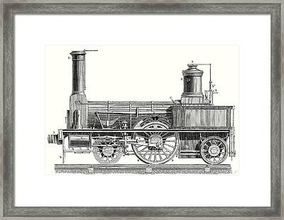 Sideview Of An Old Fashioned Locomotive Showing The Mechanism Of The Engine Framed Print by English School