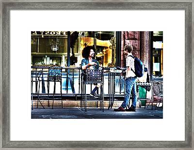 Sidewalk Cafe Patrons Framed Print