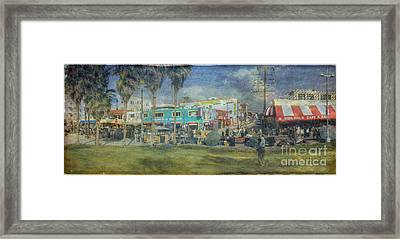 Framed Print featuring the photograph Sidewalk Cafe Venice Ca Panorama  by David Zanzinger