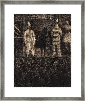 Sidewalk Show Framed Print by Georges-Pierre Seurat