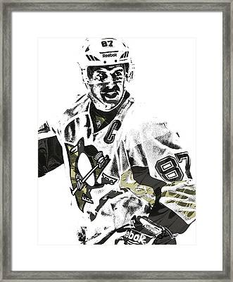 Sidney Crosby Pittsburgh Penguins Pixel Art 4 Framed Print by Joe Hamilton