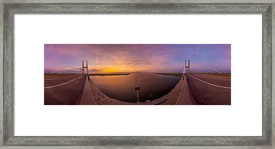 Sidney Lanier Bridge Twilight Panorama Framed Print by Chris Bordeleau