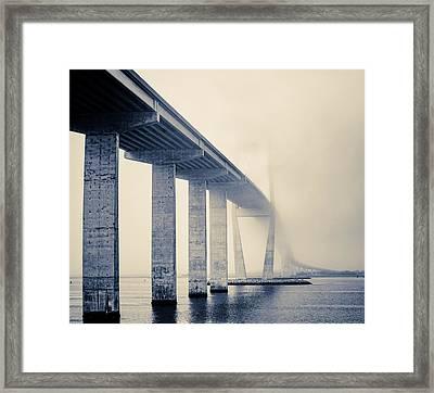 Sidney Lanier Bridge Under Fog - Bw Framed Print