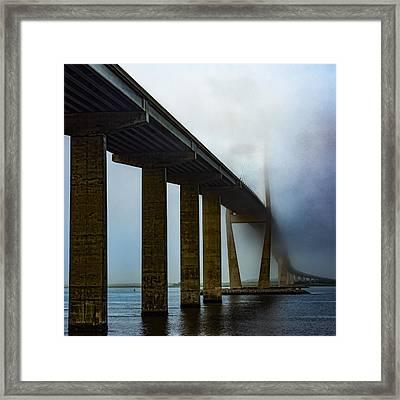 Sidney Lanier Bridge Under Fog - Square Framed Print