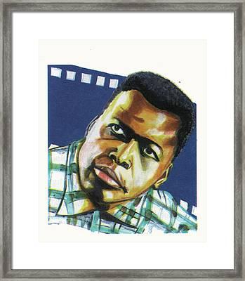 Sidney Poitier Framed Print by Emmanuel Baliyanga