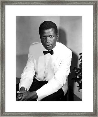 Sidney Poitier, On The Set For The Film Framed Print
