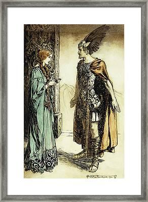 Siegfried Meets Gutrune Framed Print by Arthur Rackham