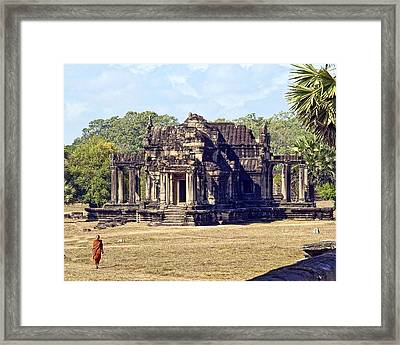 Siem Reap With Monk Framed Print