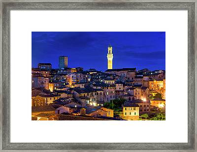 Framed Print featuring the photograph Siena At Night by Fabrizio Troiani