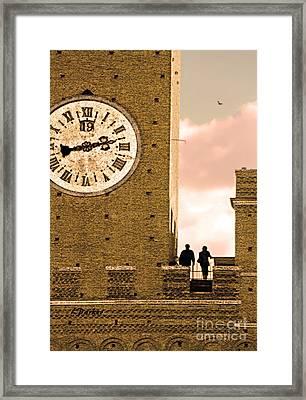 Siena Clock Tower Framed Print by Linda  Parker