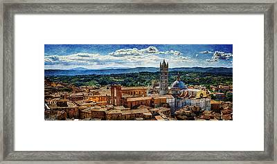 Siena - Duomo From Torre Del Mangia - Vintage Version Framed Print