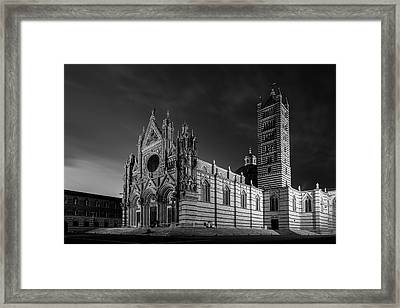 Siena Italy Cathedral Bw Framed Print by Joan Carroll