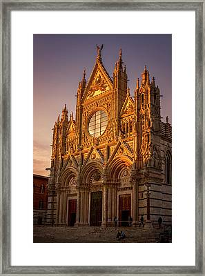 Siena Italy Cathedral Sunset Framed Print by Joan Carroll