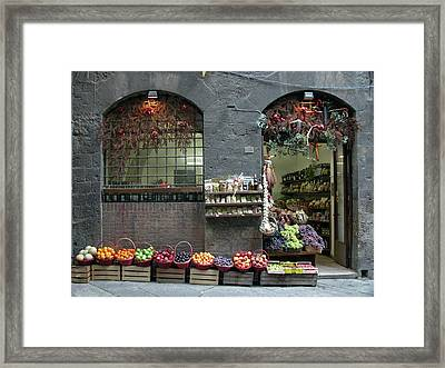 Framed Print featuring the photograph Siena Italy Fruit Shop by Mark Czerniec