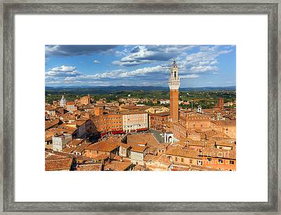 Siena, Italy Rooftop City Panorama. Mangia Tower, Italian Torre Del Mangia Framed Print by Michal Bednarek