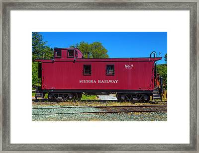 Sierra Railway Red Caboose No 7 Framed Print by Garry Gay