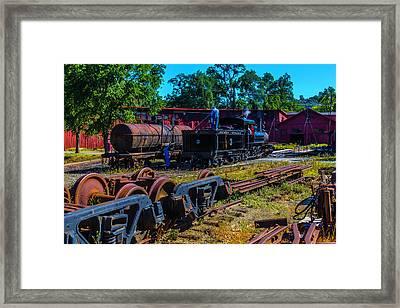 Sierra Railway Train 3 Roundhouse Framed Print by Garry Gay