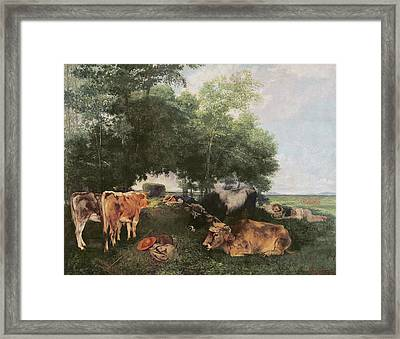 Siesta At Haymaking Time Framed Print by Gustave Courbet