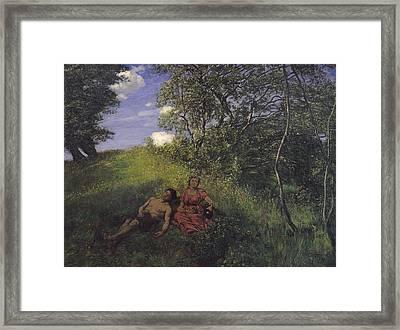 Siesta Framed Print by Hans Thoma