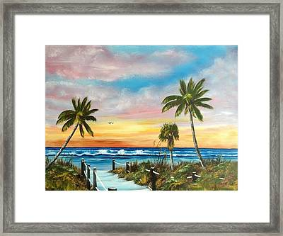 Siesta Key At Sunset Framed Print
