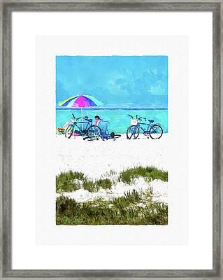 Siesta Key Beach Bikes Framed Print